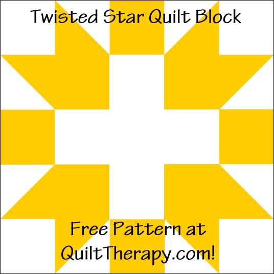 "Twisted Star Quilt Block Free Pattern for a 12"" quilt block at QuiltTherapy.com!"