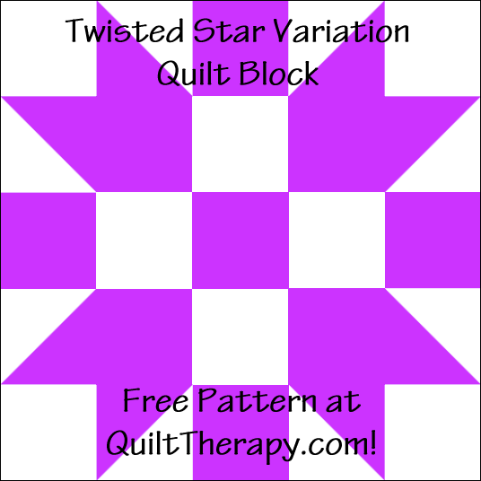 "Twisted Star Variation Quilt Block Free Pattern for a 12"" quilt block at QuiltTherapy.com!"