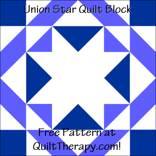 "Union Star Quilt Block Free Pattern for a 12"" quilt block at QuiltTherapy.com!"