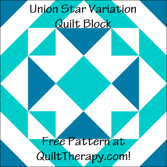 "Union Star Variation Quilt Block Free Pattern for a 12"" quilt block at QuiltTherapy.com!"