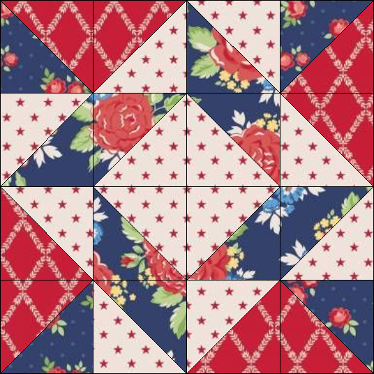 """Harry Loves Alice"" 2019 Free Block of the Month Quilt from BOMquilts.com. Block #4 – Whirlpool.."