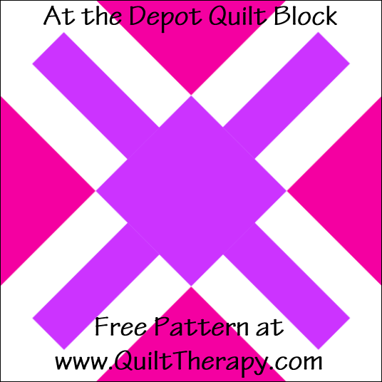 "At the Depot Quilt Block Free Pattern for a 12"" quilt block at www.QuiltTherapy.com!"