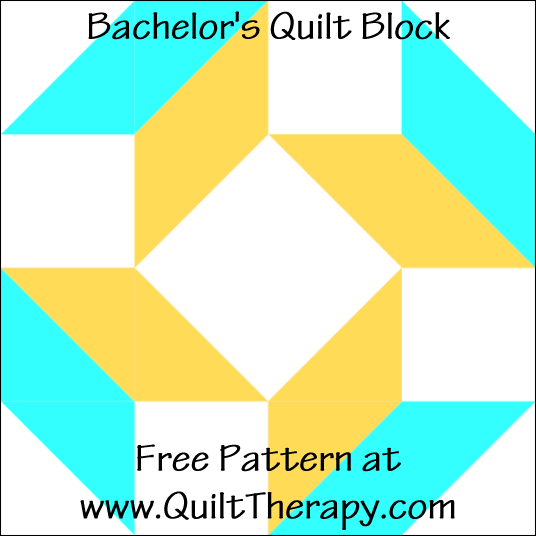 "Bachelor's Quilt Block Free Pattern for a 12"" quilt block at www.QuiltTherapy.com!"