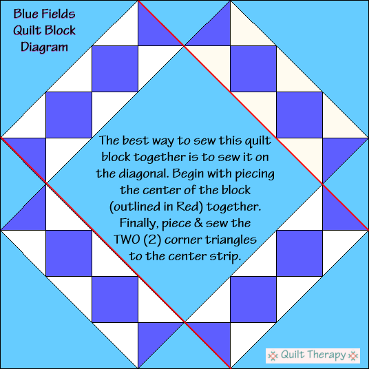 "Blue Fields Quilt Block Diagram Free Pattern for 12"" finished quilt block at QuiltTherapy.com!"