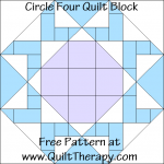 """Circle Four Quilt Block Free Pattern for a 12"""" quilt block at www.QuiltTherapy.com!"""
