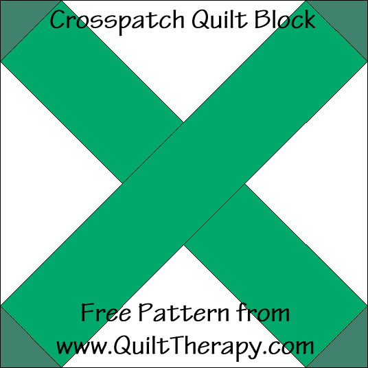 "Crosspatch Quilt Block Free Pattern for a 12"" quilt block at www.QuiltTherapy.com!"