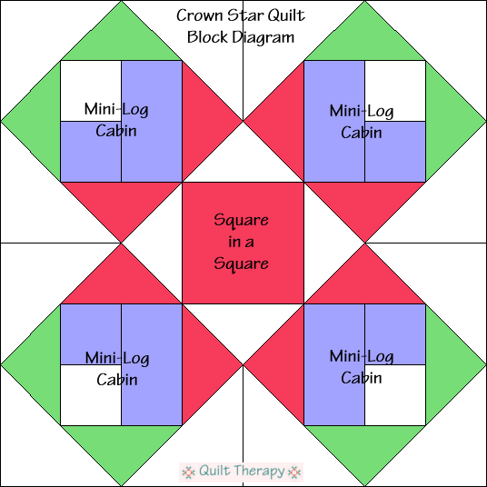 "Crown Star Quilt Block Diagram Free Pattern for 12"" finished quilt block at QuiltTherapy.com!"