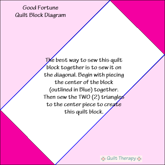 "Good Fortune Quilt Block Diagram Free Pattern for 12"" finished quilt block at QuiltTherapy.com!"