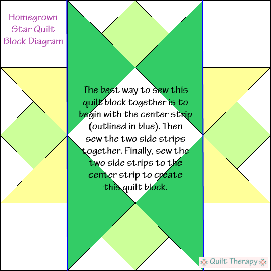 "Hometown Star Quilt Block Diagram Free Pattern for 12"" finished quilt block at QuiltTherapy.com!"
