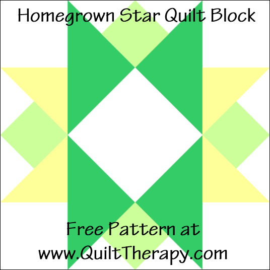 "Hometown Star Quilt Block Free Pattern for a 12"" quilt block at www.QuiltTherapy.com!"
