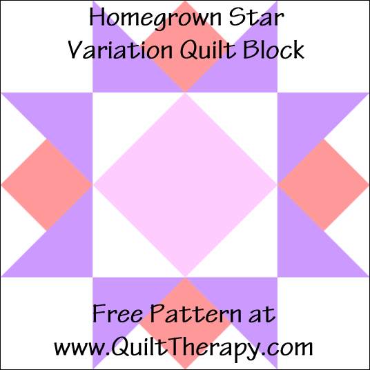 "Hometown Star Variation Quilt Block Free Pattern for a 12"" quilt block at www.QuiltTherapy.com!"