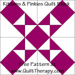 """Kittens & Pinkies Quilt Block Free Pattern for a 12"""" quilt block at www.QuiltTherapy.com!"""