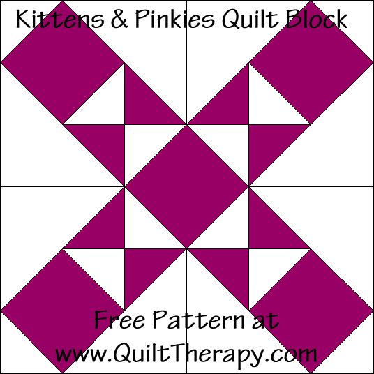 "Kittens & Pinkies Quilt Block Free Pattern for a 12"" quilt block at www.QuiltTherapy.com!"