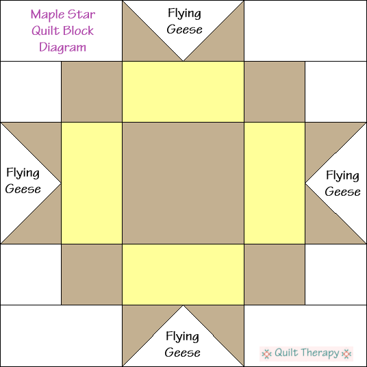 "Maple Star Quilt Block Diagram Free Pattern for 12"" finished quilt block at QuiltTherapy.com!"
