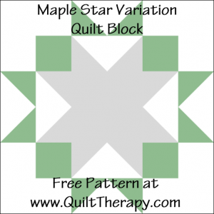 "Maple Star Quilt Block Free Pattern for a 12"" quilt block at www.QuiltTherapy.com!"