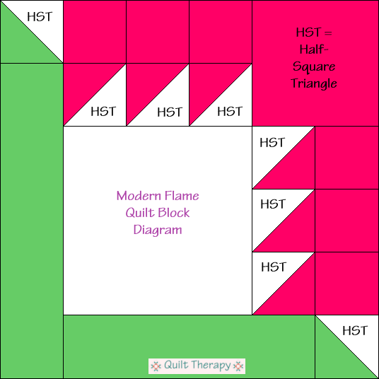 "Modern Flame Quilt Block Diagram Free Pattern for 12"" finished quilt block at QuiltTherapy.com!"