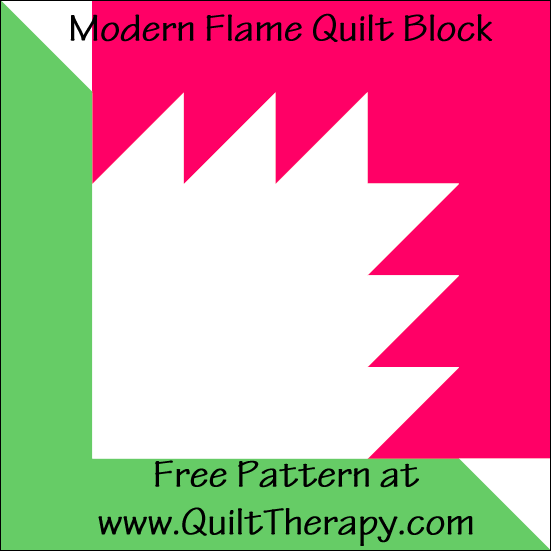 "Modern Flame Quilt Block Free Pattern for a 12"" quilt block at www.QuiltTherapy.com!"