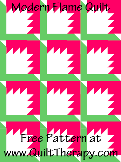 """Modern Flame Quilt Free Pattern for a 36"""" x 48"""" quilt at www.QuiltTherapy.com!"""