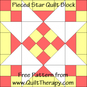 "Pieced Star Quilt Block Free Pattern for a 12"" quilt block at www.QuiltTherapy.com!"