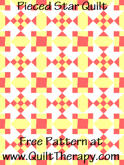 """Pieced Star Quilt Free Pattern for a 36"""" x 48"""" quilt at www.QuiltTherapy.com!"""