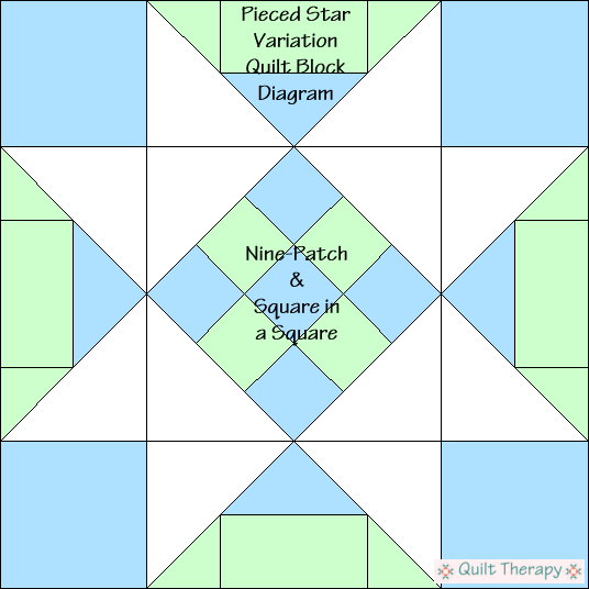 "Pieced Star Variation Quilt Block Diagram Free Pattern for 12"" finished quilt block at QuiltTherapy.com!"