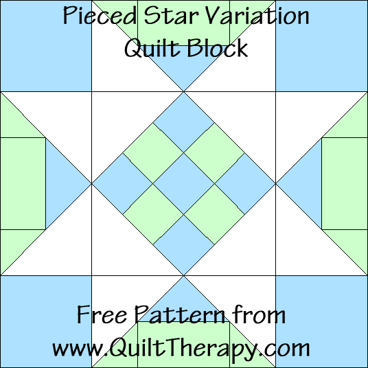 "Pieced Star Variation Quilt Block Free Pattern for a 12"" quilt block at www.QuiltTherapy.com!"