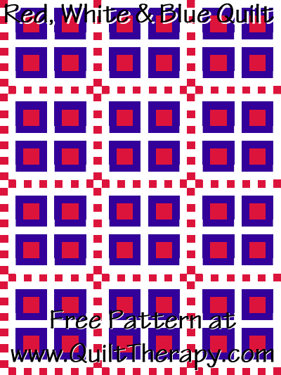 "Red, White & Blue Quilt Free Pattern for a 36"" x 48"" quilt at www.QuiltTherapy.com!"