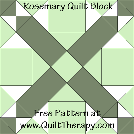 "Rosemary Quilt Block Free Pattern for a 12"" quilt block at www.QuiltTherapy.com!"