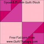 """Spool & Bobbin Quilt Block Free Pattern for a 12"""" quilt block at www.QuiltTherapy.com!"""