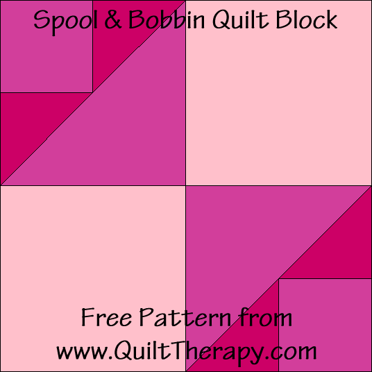 "Spool & Bobbin Quilt Block Free Pattern for a 12"" quilt block at www.QuiltTherapy.com!"