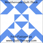 """Weathervane Quilt Block Free Pattern for a 12"""" quilt block at www.QuiltTherapy.com!"""