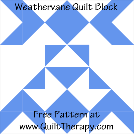 "Weathervane Quilt Block Free Pattern for a 12"" quilt block at www.QuiltTherapy.com!"