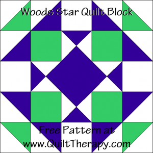 "Woods Star Quilt Block Free Pattern for a 12"" quilt block at www.QuiltTherapy.com!"