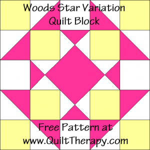 "Woods Star Variation Quilt Block Free Pattern for a 12"" quilt block at www.QuiltTherapy.com!"