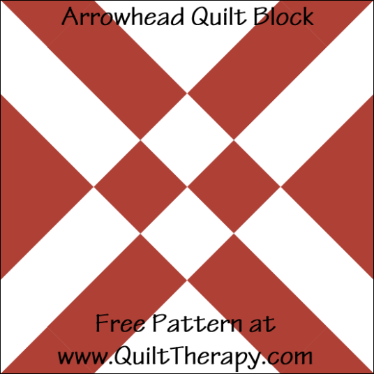 "Arrowhead Quilt Block Free Pattern for a 12"" quilt block at www.QuiltTherapy.com!"