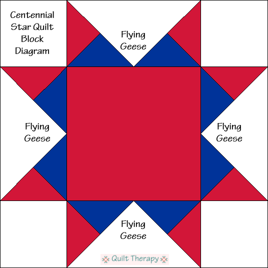 "Centennial Star Quilt Block Diagram Free Pattern for 12"" finished quilt block at QuiltTherapy.com!"