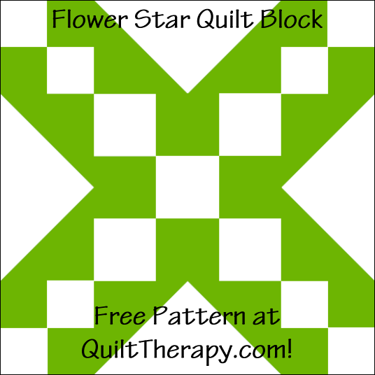 "Flower Star Quilt Block Free Pattern for a 12"" quilt block at QuiltTherapy.com!"
