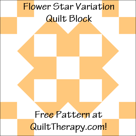 "Flower Star Variation Quilt Block Free Pattern for a 12"" quilt block at QuiltTherapy.com!"