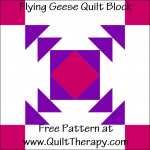 """Flying Geese Quilt Block Free Pattern for a 12"""" quilt block at www.QuiltTherapy.com!"""
