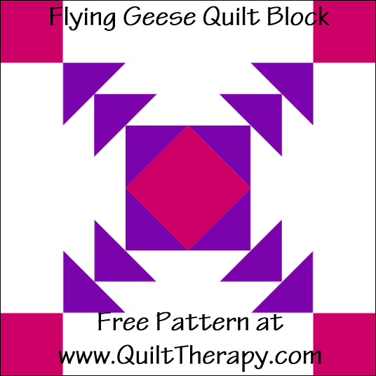 "Flying Geese Quilt Block Free Pattern for a 12"" quilt block at www.QuiltTherapy.com!"