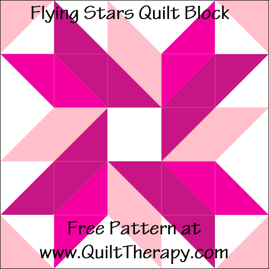 "Flying Stars Quilt Block Free Pattern for a 12"" quilt block at www.QuiltTherapy.com!"