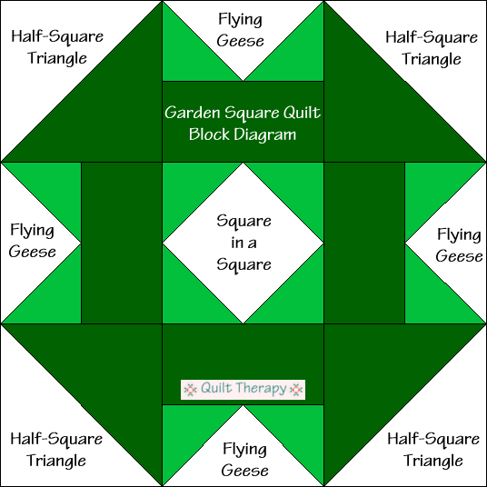 """Garden Square Quilt Block Diagram Free Pattern for 12"""" finished quilt block at QuiltTherapy.com!"""