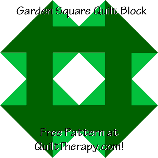 """Garden Square Quilt Block Free Pattern for a 12"""" quilt block at QuiltTherapy.com!"""
