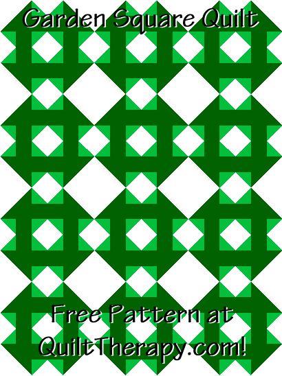 """Garden Square Quilt Free Pattern for a 36"""" x 48"""" quilt at QuiltTherapy.com!"""