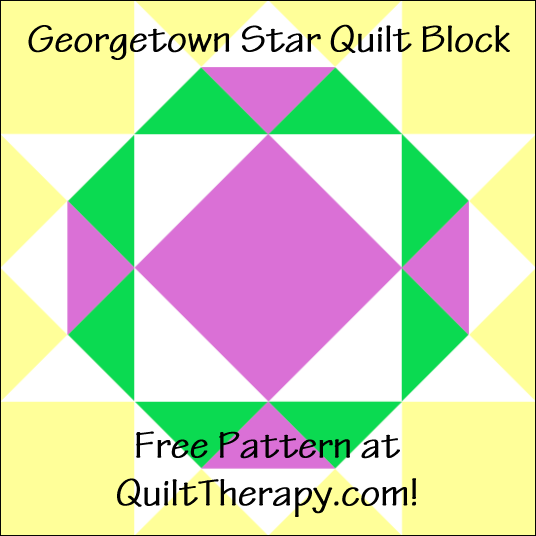 "Georgetown Star Quilt Block Free Pattern for a 12"" quilt block at QuiltTherapy.com!"