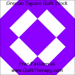 "Grecian Square Quilt Block Free Pattern for a 12"" quilt block at www.QuiltTherapy.com!"