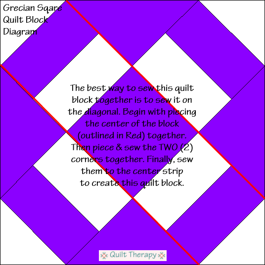 "Grecian Square Quilt Block Diagram Free Pattern for 12"" finished quilt block at QuiltTherapy.com!"