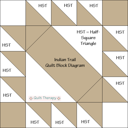 "Indian Trail Quilt Block Diagram Free Pattern for 12"" finished quilt block at QuiltTherapy.com!"
