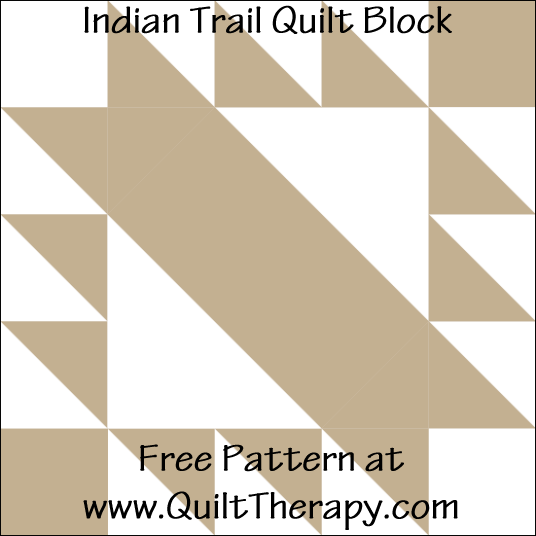 "Indian Trail Quilt Block Free Pattern for a 12"" quilt block at www.QuiltTherapy.com!"