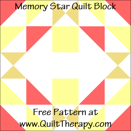 "Memory Star Quilt Block Free Pattern for a 12"" quilt block at www.QuiltTherapy.com!"